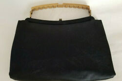 Vintage Andeand039 Clutch / Purse / Bag Black Satin With Gold Stiff Handle And Clasp