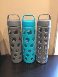 Lot Of 3 20 Oz Gray And Teal Ello Glass Water Bottles Vgc Bpa Free Twist Off Lids
