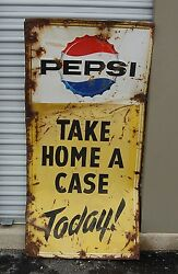 Vintage Pepsi Take Home A Case Today Large Metal Advertising Sign 68 Tall