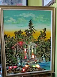 Vintage Lighted Painting Of Greek Scene Temple Waterscape, Kitschy And Cool
