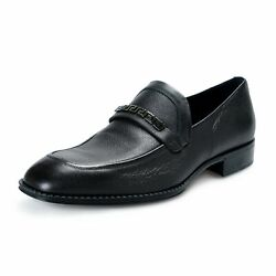 Versace Menand039s Black Leather Loafers Slip Ons Shoes Us 10 It 43