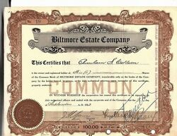 Biltmore Estate Company Stock Certificate 1923 Wwii Reissue Great Signatures