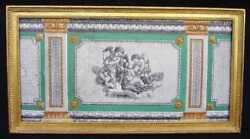 A Framed French Neoclassical Louis Xvi Style Wallpaper Panel 19th Century