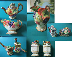 Fitz And Floyd Christmas Thanksgiving Teapot Creamer Pitcher Candlehold Shaker