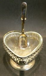 Antique Sheffield Pedestal Silverplate Heart Shaped Relish Dish W/ Spoon Excell