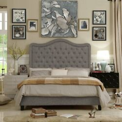 Twin Full Queen King Size Gray Grey Upholstered Platform Bed Frame Tufted Fabric