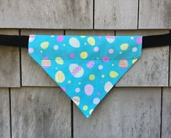 Dog Bandana Blue Easter Eggs Dog Clothes Over the Collar Size Large $11.00