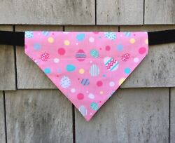 Dog Bandana Pink Easter Eggs Dog Clothes Over the Collar Size Large $11.00