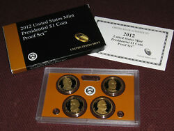 2012 Presidential 1 Golden Dollar Gem Proof Dcam 4 Coin Set With Box And Coa