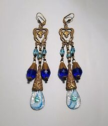 Vintage Costumedesigners Egyptian Revival Jewelry Earring's Signed Czecho