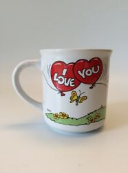 Vtg - Smurfs In Love Coffee Cup, Mug - I Love You - Hearts, Baloons, Butterflies