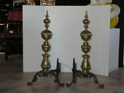 Antique Pair Of Monumental Brass And Iron Andirons Late 19th- Early 20th Century