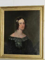 Antique Painting Of A Woman, Oil On Canvas, Mid 19th C.