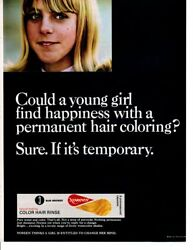Vintage Beauty Fashion Ad 1966 Hair Color Noreen Color Hair Rinse Sun Bronze Ad