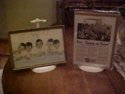 Lot Dionne Quintuplets Collectibles Framed Vintage Photograph + Another Ad
