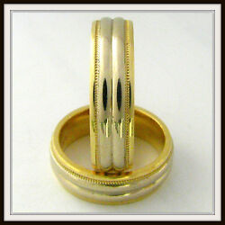 Two Tone 18 Kt Solid Gold Wedding Band Custom Made For Men And Ladies / Te 0004