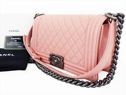 Authentic CHANEL Boy Bag Shoulder Hand Chain Flap Pink Quilted Medium W2