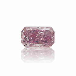 Natural Pink Diamond 0 .10 Ct Fancy Color Radiant Cut Real Gia Certified