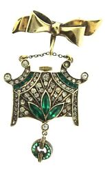 Rare Art Deco German Treulich And Klaas Invisibly Set Paste Watch Lapel Pin As Is