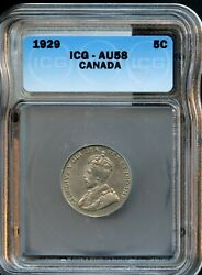1929 CANADA 5C ICG AU 58 (ABOUT UNCIRCULATED 58) CANADIAN 5 CENT COIN FD47