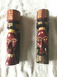 Pair Of Handmade Tiki Totem Poles Wooden Carved 8 Signed Native Decor