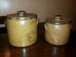 Set Of 2 Mccoy Pottery Large Cookie Jar And Small Bean Jar 1420
