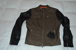 Authentic Dsquared2 Mens Motorcycle Nylon Leather Green Blk Jacket Euro 50 Us L
