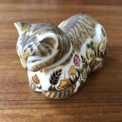 Royal Crown Derby Cat Paper Weight Art Decor Collectible Vintage Used Japan F/s