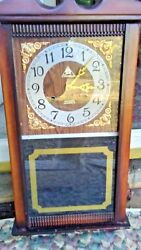 Lava 31 Day Wooden Wall Clock Key Pendulum Chime For Parts Or Repair