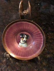 Jack Russell Terrier Guilloche and Brass Dish