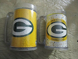 2-green Bay Packers Mugs 1-sbxxxi And 1-g Logo Insulated Plastichot/cold Both 16oz