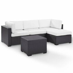 Crosley Biscayne 4 Piece Wicker Patio Sectional Set In Brown And White