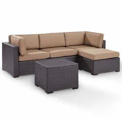 Crosley Biscayne 4 Piece Wicker Patio Sectional Set In Brown And Mocha