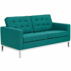 Modway Loft Upholstered Fabric Loveseat In Teal