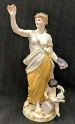 Antique Meissen Painting Woman And Child