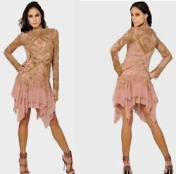 New Emilio Pucci Runway Pink,gold Embroidery Beaded Dress It42,us 6-8,uk 10,s-m