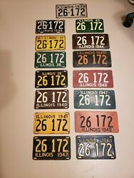 Vintage Illinois License Plates 1935-1949 Consecutive Same Number Nice Ww Ll Era