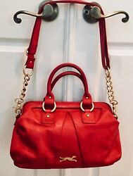 Bimba y Lola Red Leather Cross Shoulder Tote Bag & Gold-Toned Hardware
