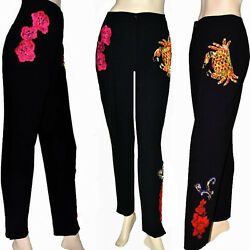 Dolce And Gabbana Jewelry Floral Embroidery Applique High Waist Streth Wool Pants