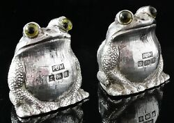 Sterling Silver Frog Salt And Pepper Pots, Period Jewellery Manufacturing 1997