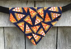 Dog Bandana Pizza Slices Dog Clothes Over the Collar Size Small $7.00