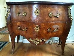 Louis Xv Marble-top Bombe Chest With Two 2 Drawers