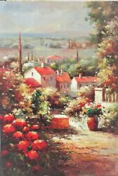 Italian Village (Illegible signature oil painting)
