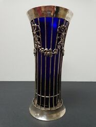 Antique William Hutton Sheffield Sterling Silver And Cobalt Blue Glass Inset Vase