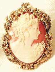 Art Nouveau 14k Yellow Gold Shell Cameo Pendant Or Brooch 2 3/8 X 1 3/4