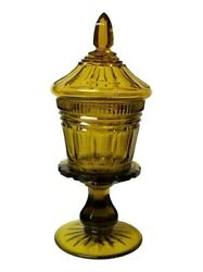 Large Antique Bohemian Topaz Amber Cut Glass Covered Compote Bonbon
