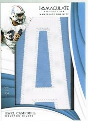 2018 Panini Earl Campbell Immaculate Collection Nameplate Nobility Letter A 2/8