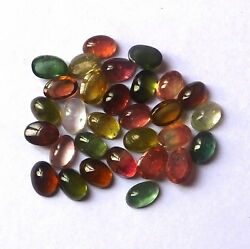 6x4 Mm Oval Aaa Natural Multi-color Tourmaline Cabochon 30 Pieces Gemstone Lot