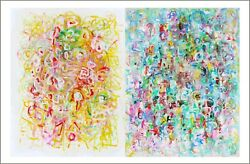 Art Territory Diptych Modern Art Contemporary Oil Painting On Paper