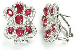 5.7 Ctw Natural Deep Red Ruby Diamond Solid 14k White Gold Opened Eyes Earrings